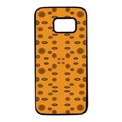 Brown Circle Pattern On Yellow Samsung Galaxy S7 Black Seamless Case