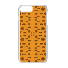 Brown Circle Pattern On Yellow Apple Iphone 7 Plus Seamless Case (white)