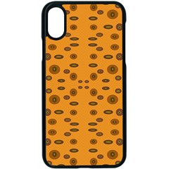 Brown Circle Pattern On Yellow Apple Iphone X Seamless Case (black)