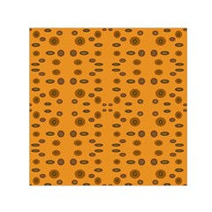 Brown Circle Pattern On Yellow Small Satin Scarf (square)