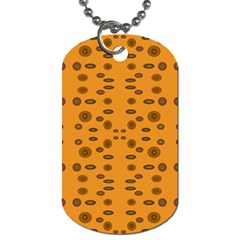 Brown Circle Pattern On Yellow Dog Tag (two Sides)