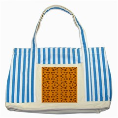 Brown Circle Pattern On Yellow Striped Blue Tote Bag