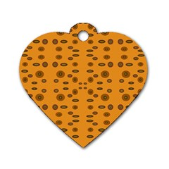 Brown Circle Pattern On Yellow Dog Tag Heart (two Sides)