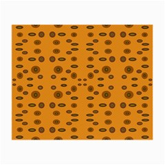 Brown Circle Pattern On Yellow Small Glasses Cloth (2 Side)
