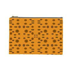 Brown Circle Pattern On Yellow Cosmetic Bag (large)