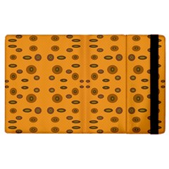 Brown Circle Pattern On Yellow Apple Ipad 2 Flip Case