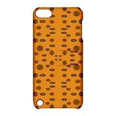 Brown Circle Pattern On Yellow Apple Ipod Touch 5 Hardshell Case With Stand