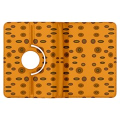 Brown Circle Pattern On Yellow Kindle Fire Hdx Flip 360 Case