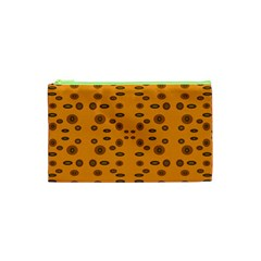 Brown Circle Pattern On Yellow Cosmetic Bag (xs)