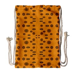 Brown Circle Pattern On Yellow Drawstring Bag (large)