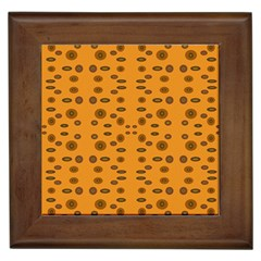 Brown Circle Pattern On Yellow Framed Tiles