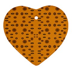 Brown Circle Pattern On Yellow Ornament (heart)