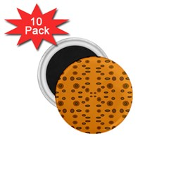 Brown Circle Pattern On Yellow 1 75  Magnets (10 Pack)