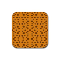Brown Circle Pattern On Yellow Rubber Square Coaster (4 Pack)