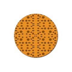 Brown Circle Pattern On Yellow Magnet 3  (round)