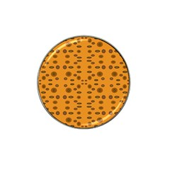 Brown Circle Pattern On Yellow Hat Clip Ball Marker (4 Pack)