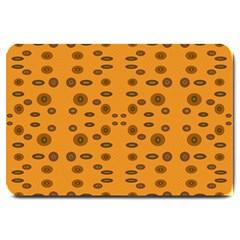 Brown Circle Pattern On Yellow Large Doormat