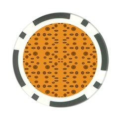 Brown Circle Pattern On Yellow Poker Chip Card Guard