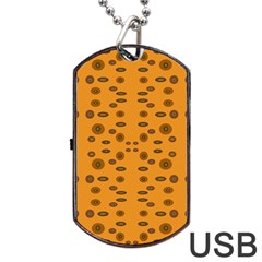 Brown Circle Pattern On Yellow Dog Tag Usb Flash (one Side)
