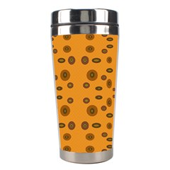 Brown Circle Pattern On Yellow Stainless Steel Travel Tumblers