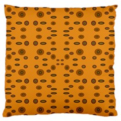 Brown Circle Pattern On Yellow Large Flano Cushion Case (two Sides)
