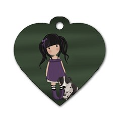 Dolly Girl And Dog Dog Tag Heart (one Side)