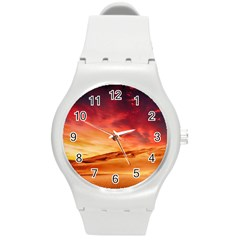 Desert Sand Dune Landscape Nature Round Plastic Sport Watch (m)