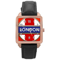 London England Rose Gold Leather Watch