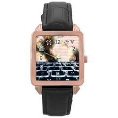 Ransomware Cyber Crime Security Rose Gold Leather Watch