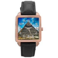 Pyramid Egypt Ancient Giza Rose Gold Leather Watch
