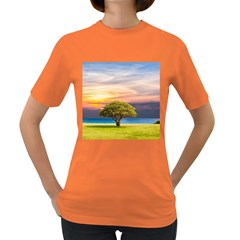 Tree Sea Grass Nature Ocean Women s Dark T Shirt