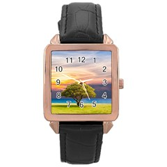 Tree Sea Grass Nature Ocean Rose Gold Leather Watch