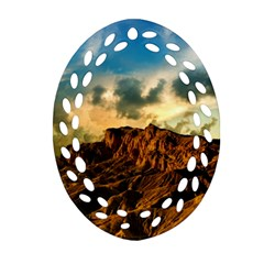 Mountain Sky Landscape Nature Oval Filigree Ornament (two Sides)