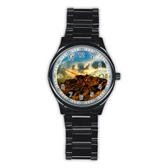 Mountain Sky Landscape Nature Stainless Steel Round Watch