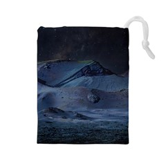Landscape Night Lunar Sky Scene Drawstring Pouches (large)