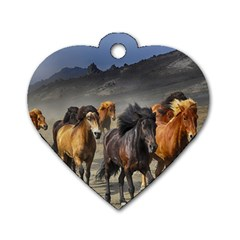 Horses Stampede Nature Running Dog Tag Heart (one Side)