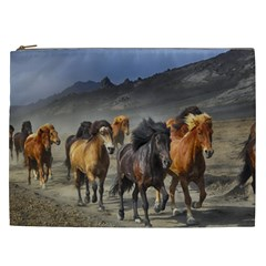 Horses Stampede Nature Running Cosmetic Bag (xxl)