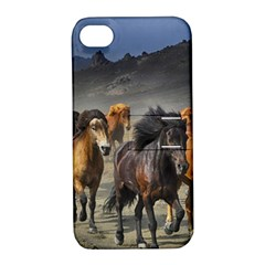 Horses Stampede Nature Running Apple Iphone 4/4s Hardshell Case With Stand