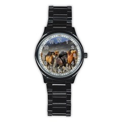 Horses Stampede Nature Running Stainless Steel Round Watch