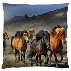 Horses Stampede Nature Running Large Flano Cushion Case (two Sides)