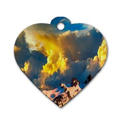 Mountains Clouds Landscape Scenic Dog Tag Heart (one Side)