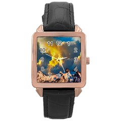 Mountains Clouds Landscape Scenic Rose Gold Leather Watch