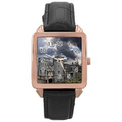 Castle Building Architecture Rose Gold Leather Watch