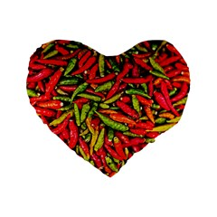 Chilli Pepper Spicy Hot Red Spice Standard 16  Premium Flano Heart Shape Cushions