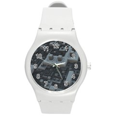 Backdrop Construction Pattern Round Plastic Sport Watch (m)