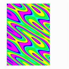 Lilac Yellow Wave Abstract Pattern Small Garden Flag (two Sides)