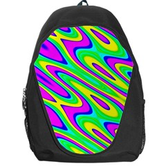 Lilac Yellow Wave Abstract Pattern Backpack Bag