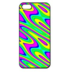 Lilac Yellow Wave Abstract Pattern Apple Iphone 5 Seamless Case (black)