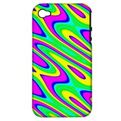 Lilac Yellow Wave Abstract Pattern Apple Iphone 4/4s Hardshell Case (pc+silicone)