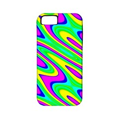 Lilac Yellow Wave Abstract Pattern Apple Iphone 5 Classic Hardshell Case (pc+silicone)